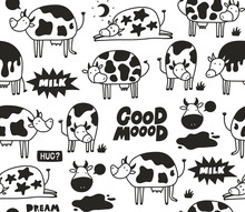 Black And White Cow Skin Seamless Patten With Doodle Animals.