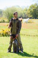 Hunter With Pointer Gun Dog
