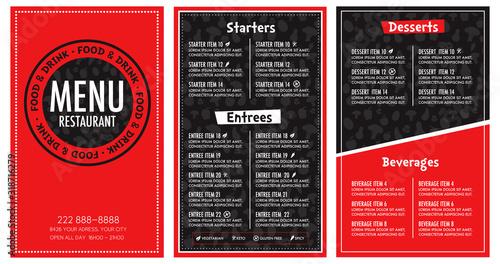 Restaurant menu red and black modern design Canvas Print