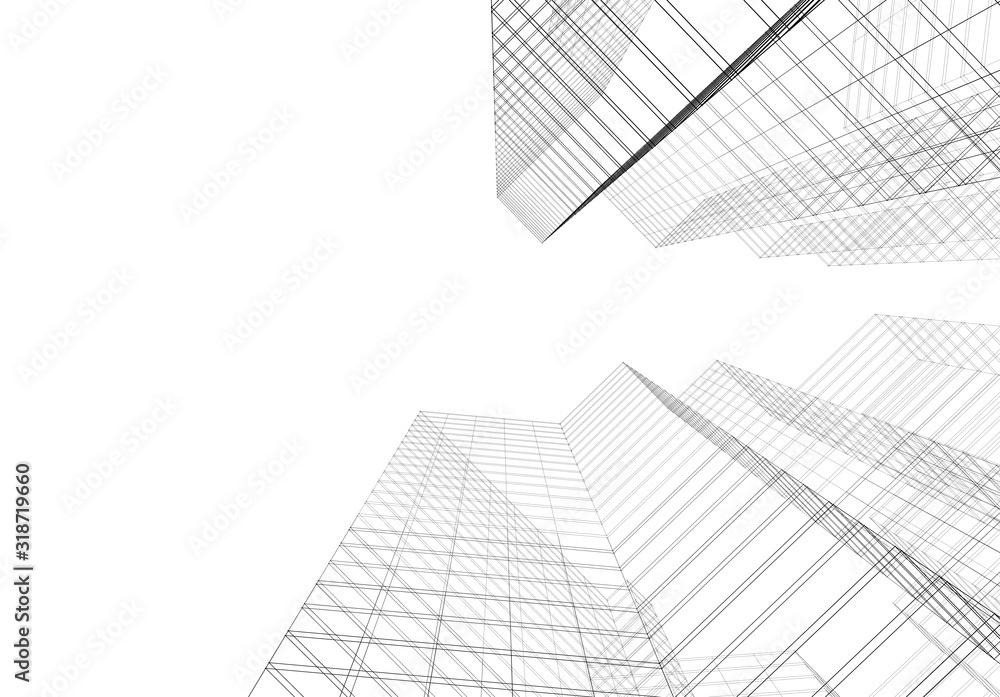 Fototapeta Modern building architecture 3d illustration