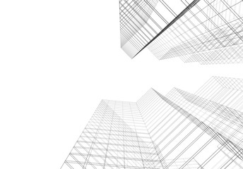 Modern building architecture 3d illustration