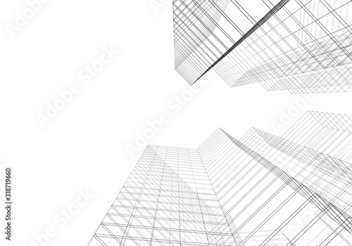 Modern building architecture 3d illustration