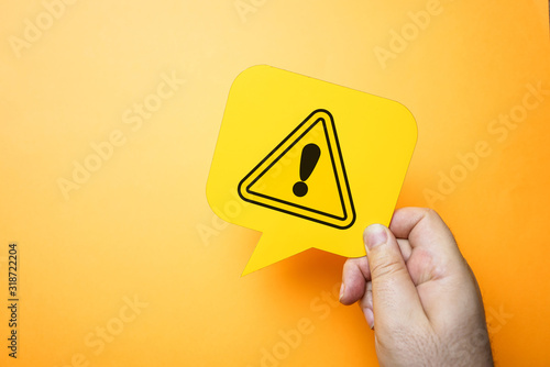 Foto Exclamation mark, warning and safety concept