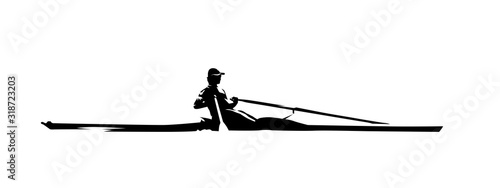 Fotografiet Rowing, isolated vector silhouette, ink drawing