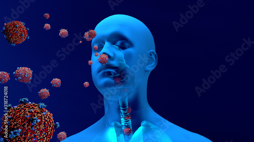 Obraz Droplets infected with a virus spray into the air, Human lungs infected by the Coronavirus or by virus, Respiratory infection caused by a virus. SARS - fototapety do salonu
