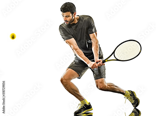 Photo mature tennis player man backhand isolated white background