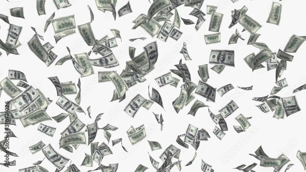 Fototapeta falling money rain concept illustration