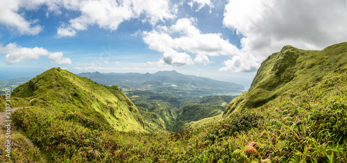 Canvas-taulu Mount Pelee green volcano hillside panorama, Martinique,  French overseas depart