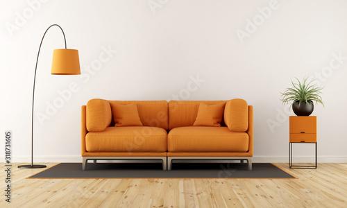 Obraz Cushions On Sofa At Home Against Wall - fototapety do salonu