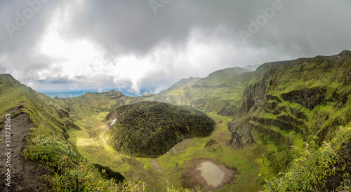 Fotografie, Obraz La Soufriere volcano crater panorama with tuff cone hidden in green, Saint Vince