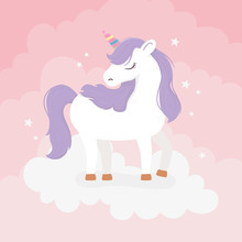 Unicorn With Purple Hair On Cl...