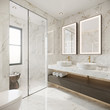 Leinwanddruck Bild Modern bathroom with white marble and double sink