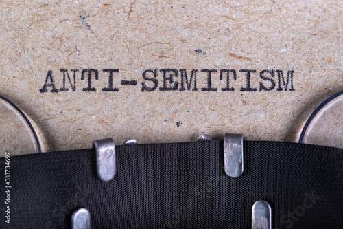The word anti-semitism written in typewriter font Wallpaper Mural