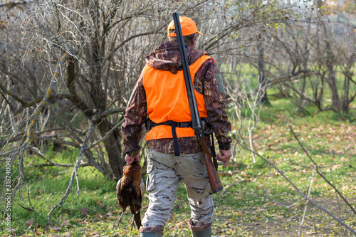 A man with a gun in his hands and an orange vest on a pheasant hunt in a wooded area in cloudy weather Fototapet