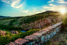 The Beautiful Green Vibrant Hills Glowing In The Sunset At Wichita Mountains Wildlife Refuge Near Lawton, Oklahoma, USA.