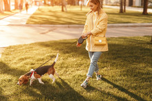 Woman With Dog Walking On Green Lawn