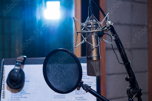 Close-Up Of Microphone With Soundproof In Recording Studio Tablou Canvas