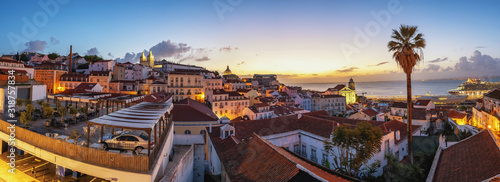 Obraz Lisbon Portugal sunrise panorama city skyline at Lisbon Alfama district - fototapety do salonu