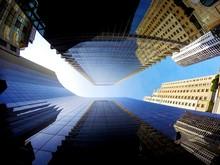 Directly Below Shot Of Office Buildings