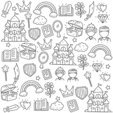 Fairy Tale And Kids Fantasy Doodle Vector Illustration In Cute Hand Drawn Style Suitable For Background Too