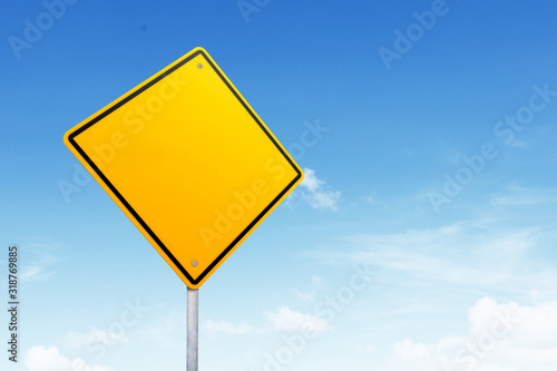 Obraz na plátně Low Angle View Of Blank Road Sign Against Blue Sky
