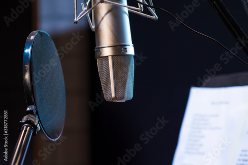 Close-Up Of Microphone With Soundproof In Recording Studio Fototapet