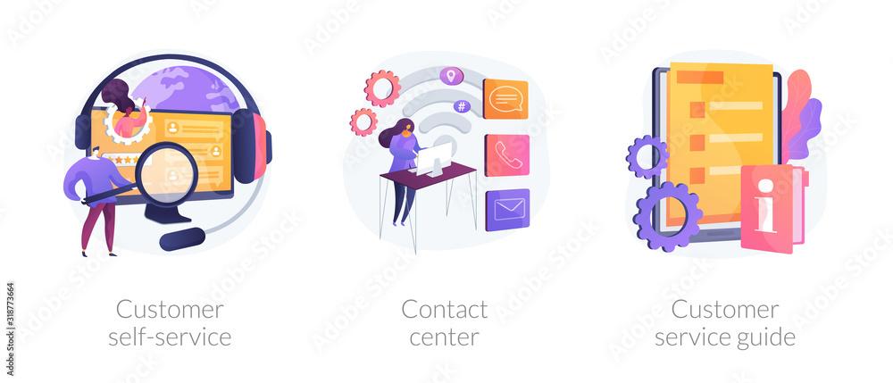 Fototapeta Client support online helpline. Digital product maintenance tutorial. Customer self-service, contact center, customer service guide metaphors. Vector isolated concept metaphor illustrations