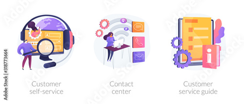 Obraz Client support online helpline. Digital product maintenance tutorial. Customer self-service, contact center, customer service guide metaphors. Vector isolated concept metaphor illustrations - fototapety do salonu