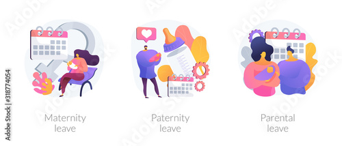 Obraz Gender equality issues in child upbringing. Trendy tendencies in infant kids care sharing. Maternity leave, paternity leave, parental leave metaphors. Vector isolated concept metaphor illustrations. - fototapety do salonu