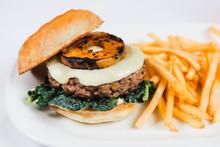 Hamburger With Kale, Cheese, G...