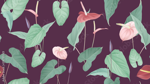 Photo Floral seamless pattern, pink and red Anthurium flowers with leaves in blue tone