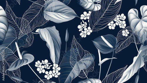 Floral seamless pattern, Anthurium flowers with leaves in blue tone on dark blue Canvas Print