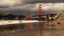 Low Angle View Of Golden Gate Bridge San Francisco Bay Against Cloudy Sky