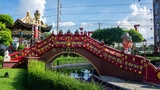chinese architecture pond bridge Thailand vegetation