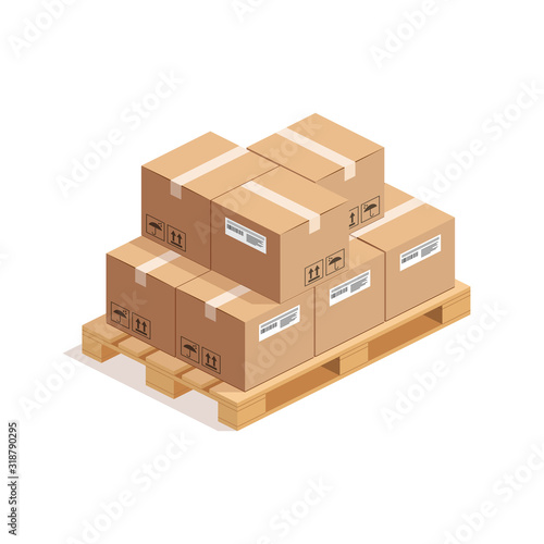 Fotografía Isometric wooden pallet with big stack of cardboard boxes isolated on whte background
