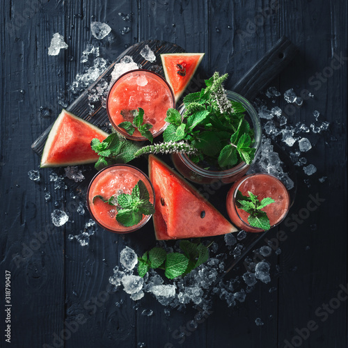 Fototapety, obrazy: Top view cocktails drinks watermelon mojito on dark wooden background with copy space