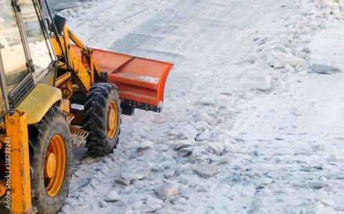 Fotografie, Obraz Bulldozer On Snow