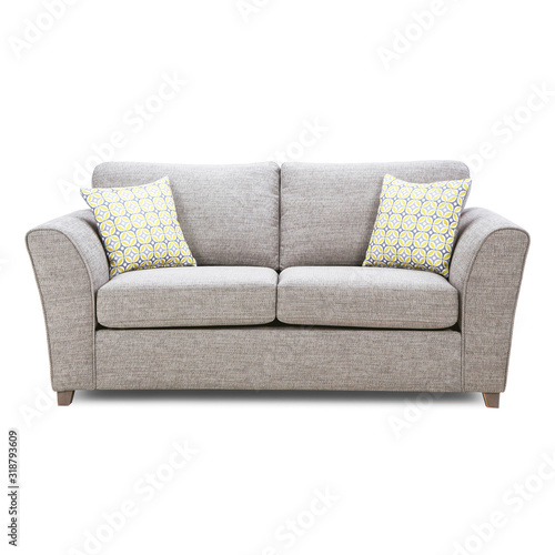 Grey Mid Back Linen Sofa Bed Isolated on White Background Wallpaper Mural