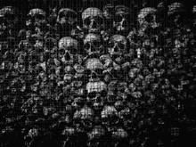 Full Frame Shot Of Human Skulls Seen Through Metal Grate