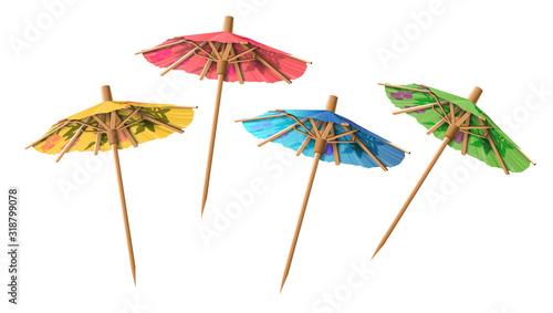 Tableau sur Toile Set of four cocktail umbrellas in different colors