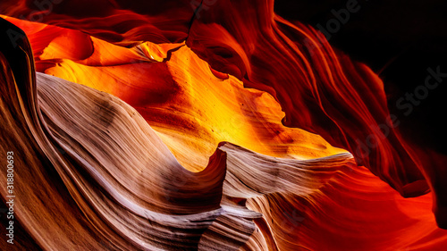 The smooth curved Red Navajo Sandstone walls of the Upper Antelope Canyon, one o Canvas-taulu