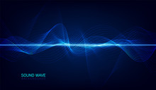 Abstract Blue Digital Equalizer, Vector Of Sound Wave Pattern Element