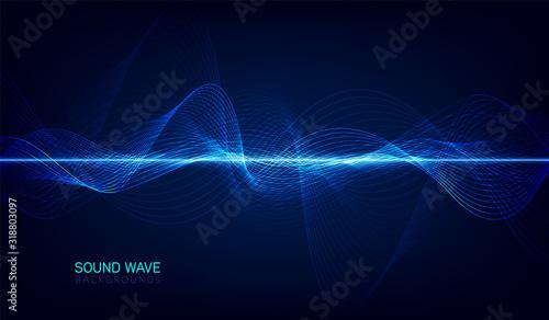 Fotografie, Obraz abstract blue digital equalizer, vector of sound wave pattern element