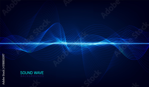 abstract blue digital equalizer, vector of sound wave pattern element Fototapete