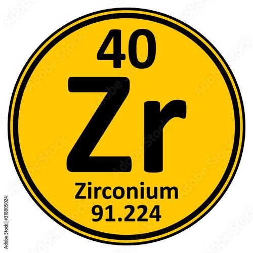 Obraz na plátne Periodic table element zirconium icon.