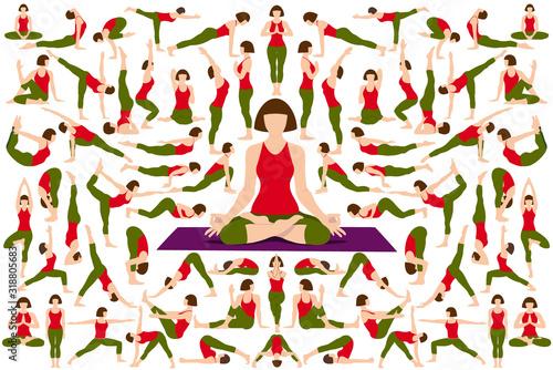 Set of Yogi woman in Asana Pose. Canvas Print