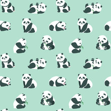 Animal Background. Seamless Pattern With Cute Baby Pandas On Green Background. Vector 8 EPS.