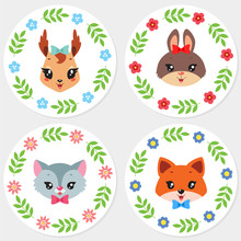 Cute Cupcake Toppers. Set Of 4 Cupcake Toppers With Cartoon Illustrations Of Cute Animal Faces. Vector 8 EPS.