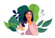Thinking girl. Beautiful face, doubts, female problems, thoughts, emotions. Curious woman questioning, question mark. Vector illustration