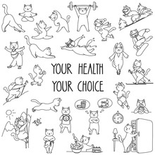 Your Health Your Choice. Set Of Healthy Lifestyle Stickers. Doodle Illustration Of Funny Cats Enjoying Physical Activity And Healhy Food. Vector 8 EPS.